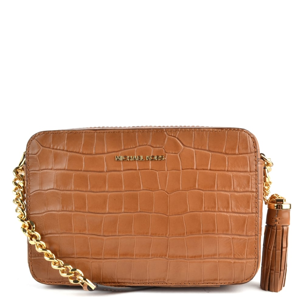 MICHAEL MICHAEL KORS Ginny Acorn Embossed Leather Camera Bag - Free invoice online michael kors outlet online store