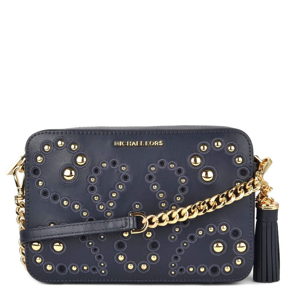Ginny Admiral Leather Studded Crossbody Bag