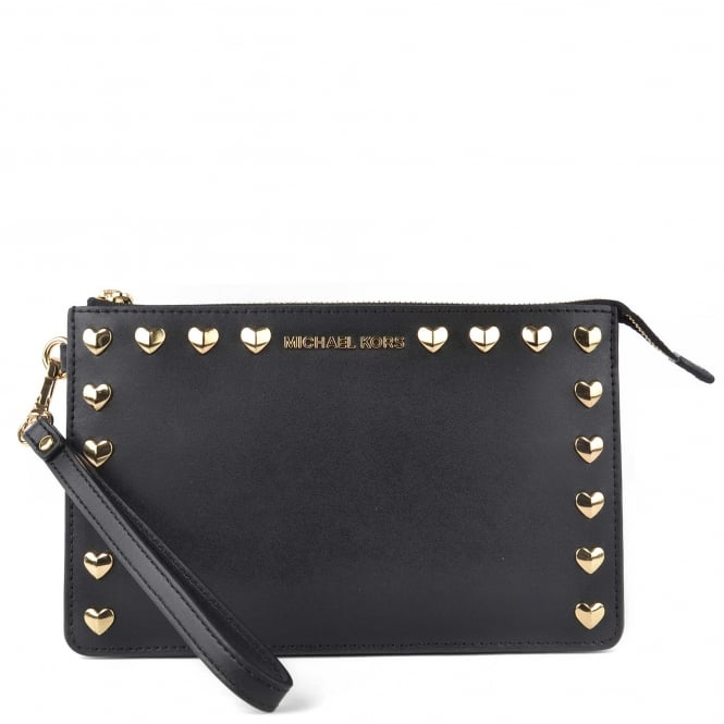 MICHAEL by Michael Kors Ginny Black Leather Medium Wristlet