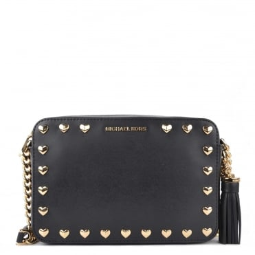 Ginny Black Leather Studded Camera Bag
