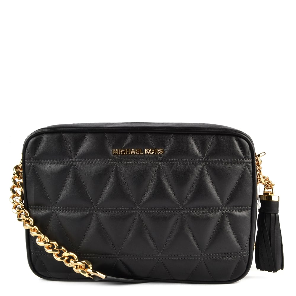 Ginny Black Quilted Leather Camera Bag