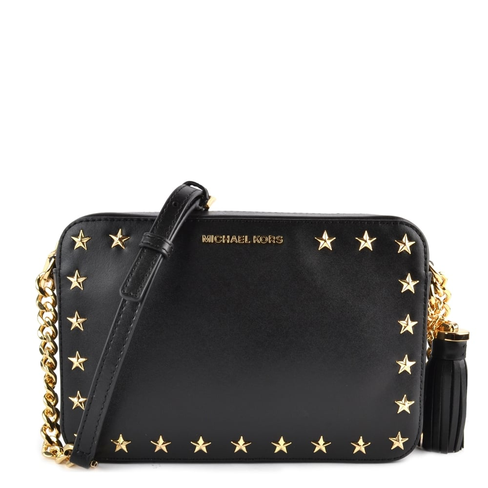 1bc5d85e9834fb MICHAEL by Michael Kors Ginny Black Star Studded Medium Camera Bag