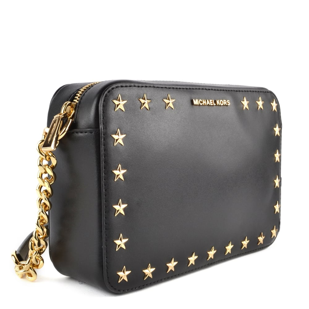 8e83757644ba74 MICHAEL MICHAEL KORS Ginny Black Star Studded Medium Camera Bag