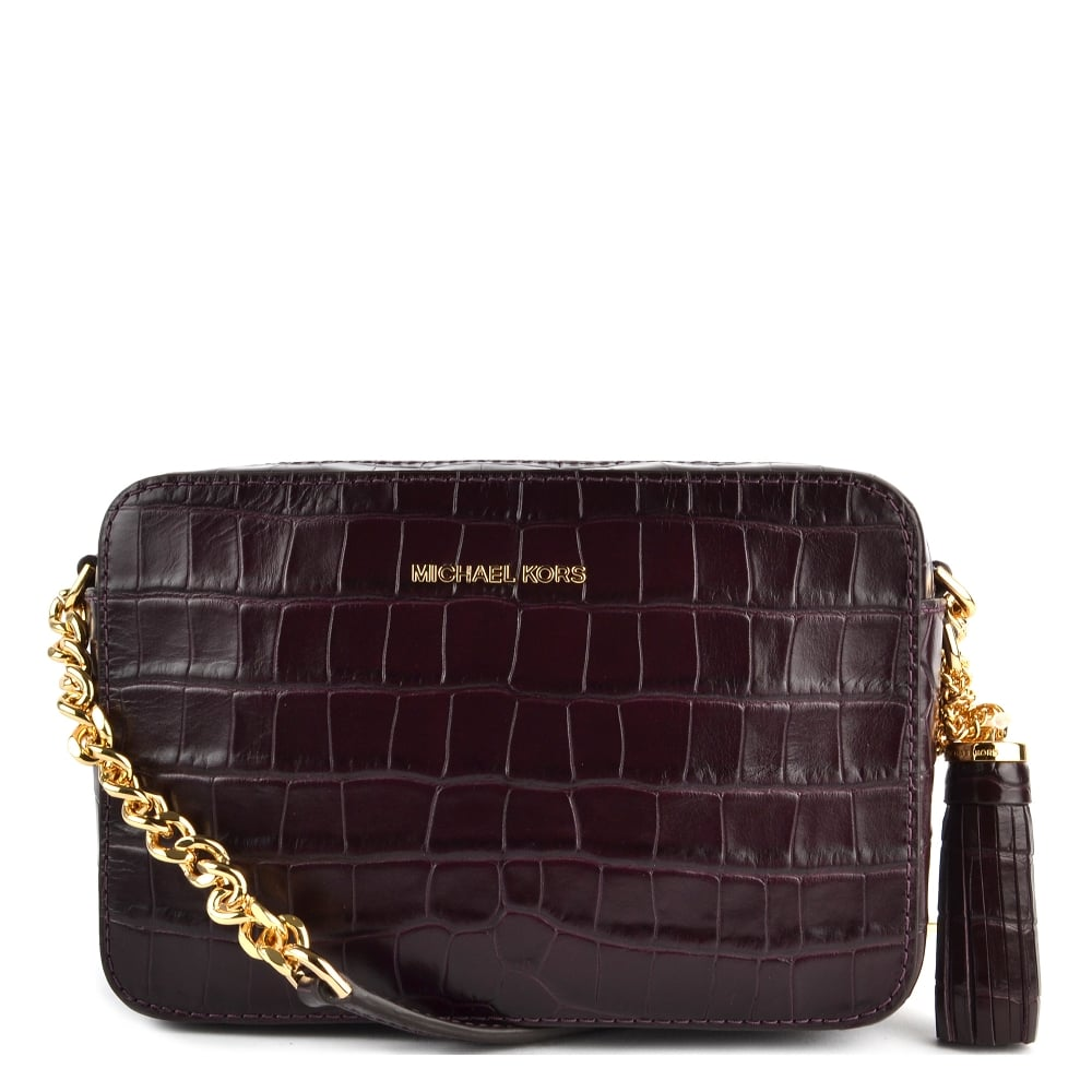 61a5f31f622d MICHAEL by Michael Kors Ginny Damson  Plum  Embossed Leather Camera Bag