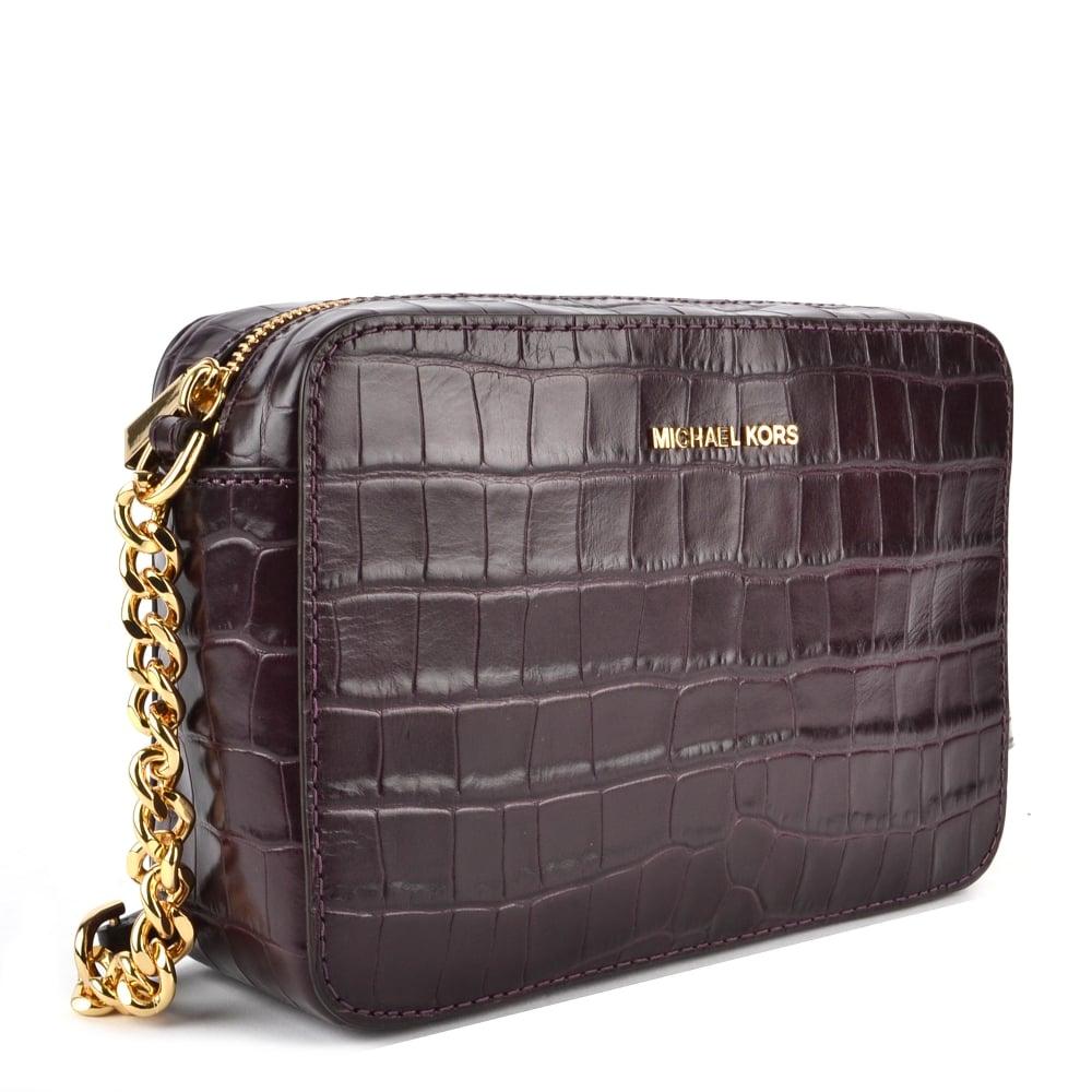 c9567d572ca0 MICHAEL MICHAEL KORS Ginny Damson  Plum  Embossed Leather Camera Bag