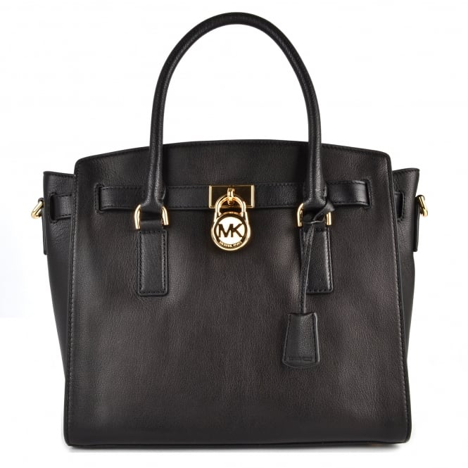 MICHAEL by Michael Kors Hamilton Black Leather Large Satchel