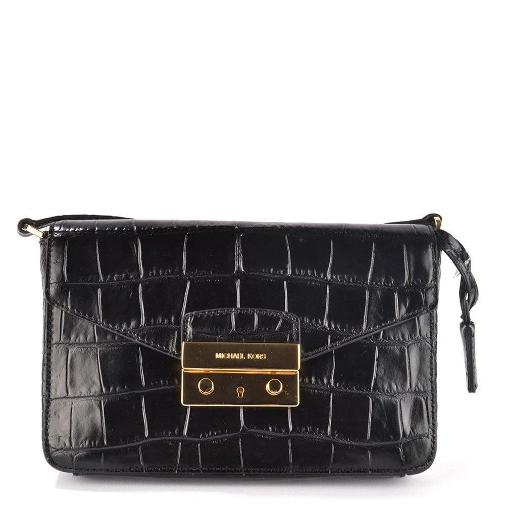 844441ceb2dc MICHAEL by Michael Kors Hayley Black Croc Leather Shoulder Flap Bag