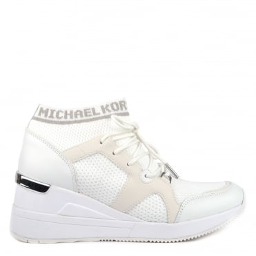 Hilda Optic White Leather and Knit Trainer