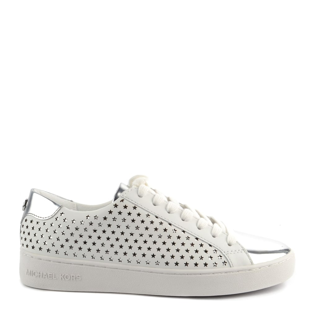 9437323c838a MICHAEL by Michael Kors Irving Optic White Leather Perforated Trainer