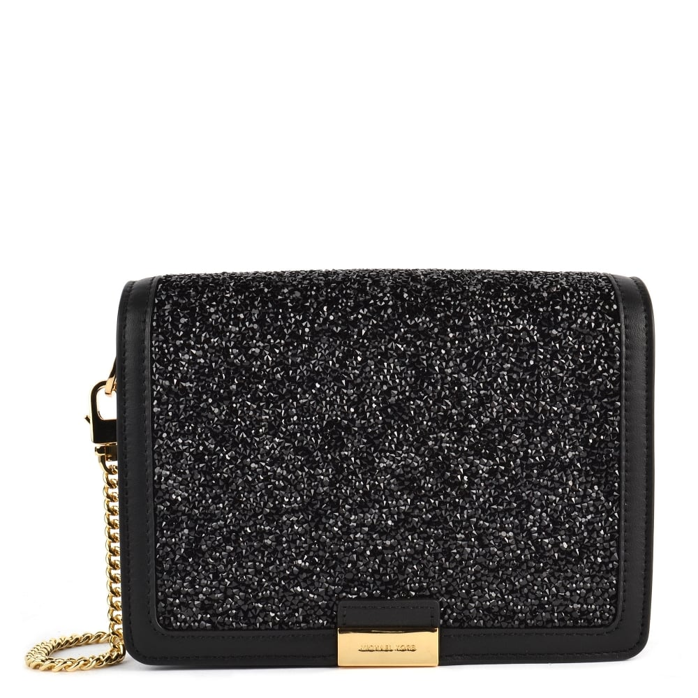 5aed4024a5c77 MICHAEL by Michael Kors Jade Black Embellished Medium Leather Clutch Bag