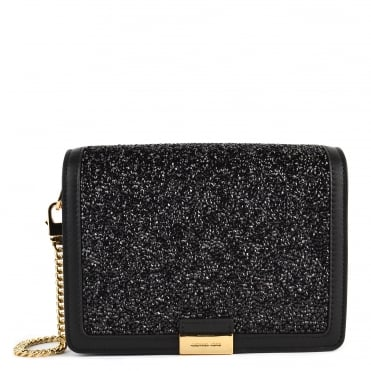 Jade Black Embellished Medium Leather Clutch Bag