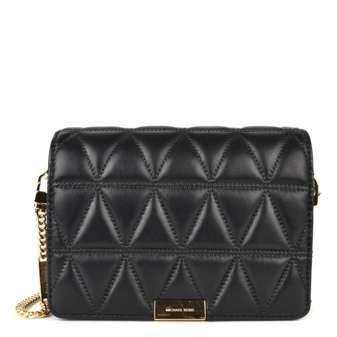 MICHAEL by Michael Kors Jade Black Quilted Medium Leather Clutch Bag