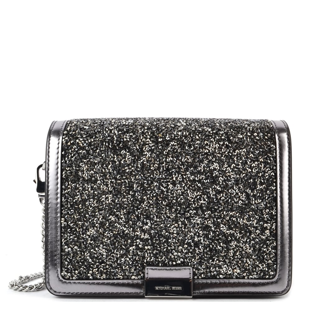 61b3ee5d17 MICHAEL by Michael Kors Jade Light Pewter Embellished Medium Leather Clutch  Bag
