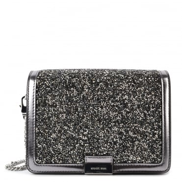 Jade Light Pewter Embellished Medium Leather Clutch Bag