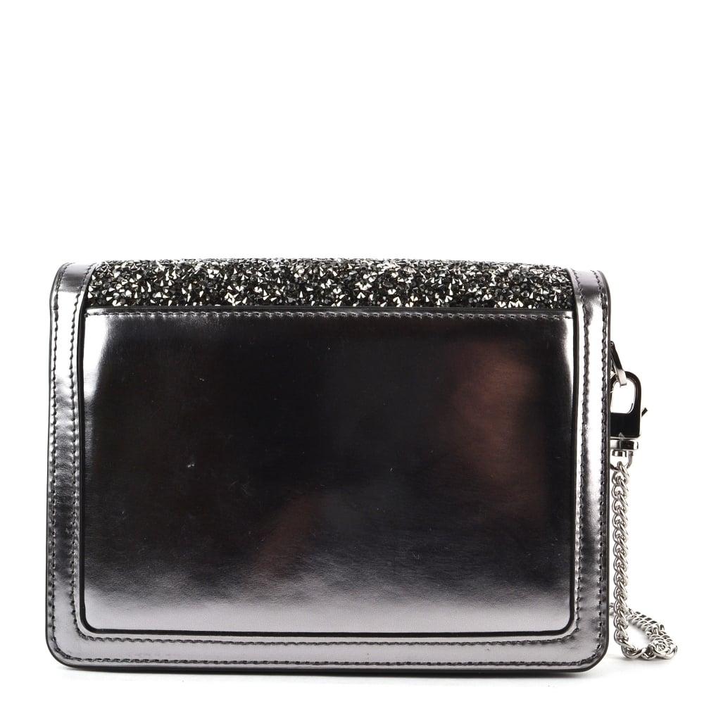 59550295399d MICHAEL MICHAEL KORS Jade Light Pewter Embellished Medium Leather ...