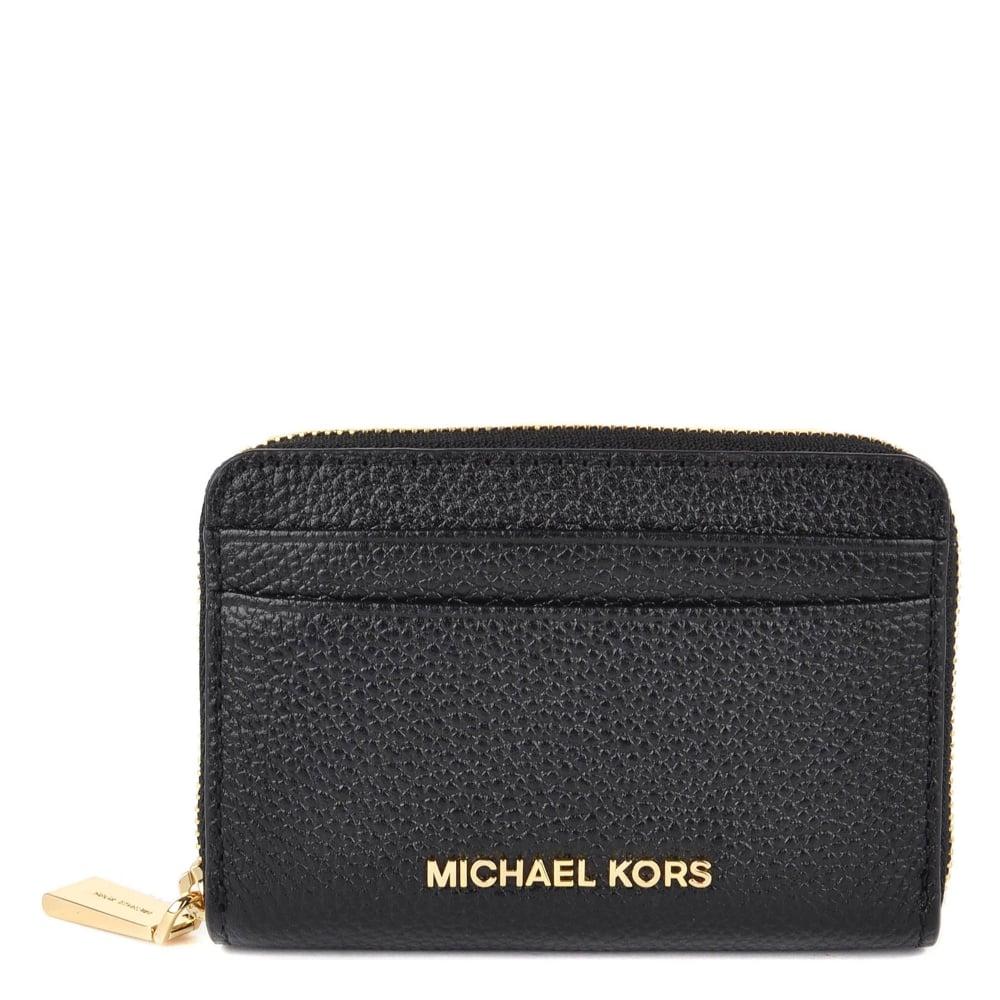 5414ce7774fe MICHAEL by Michael Kors Jet Set Black Zip Around Card Case