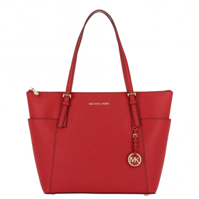 MICHAEL by Michael Kors Jet Set Item Bright Red Saffiano Top Zip Tote