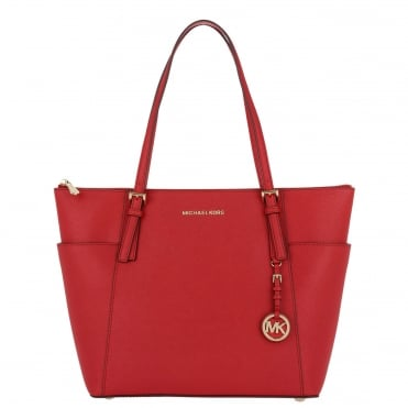 Jet Set Item Bright Red Saffiano Top Zip Tote