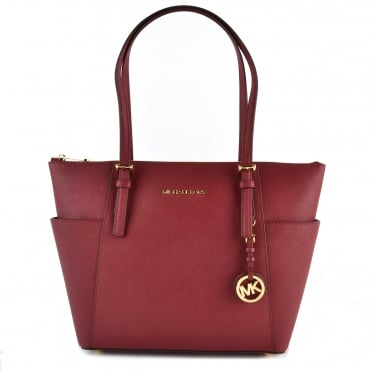 Jet Set Item Mulberry Saffiano Top Zip Tote