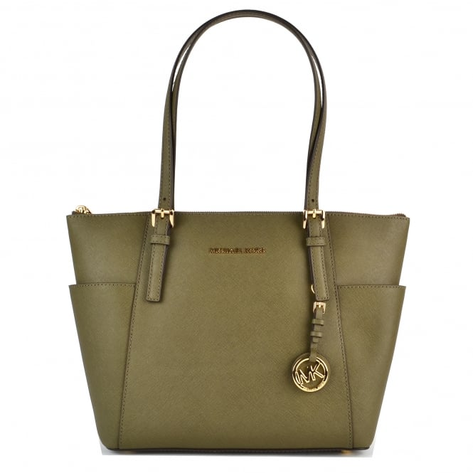 MICHAEL by Michael Kors Jet Set Item Olive Top Zip Tote