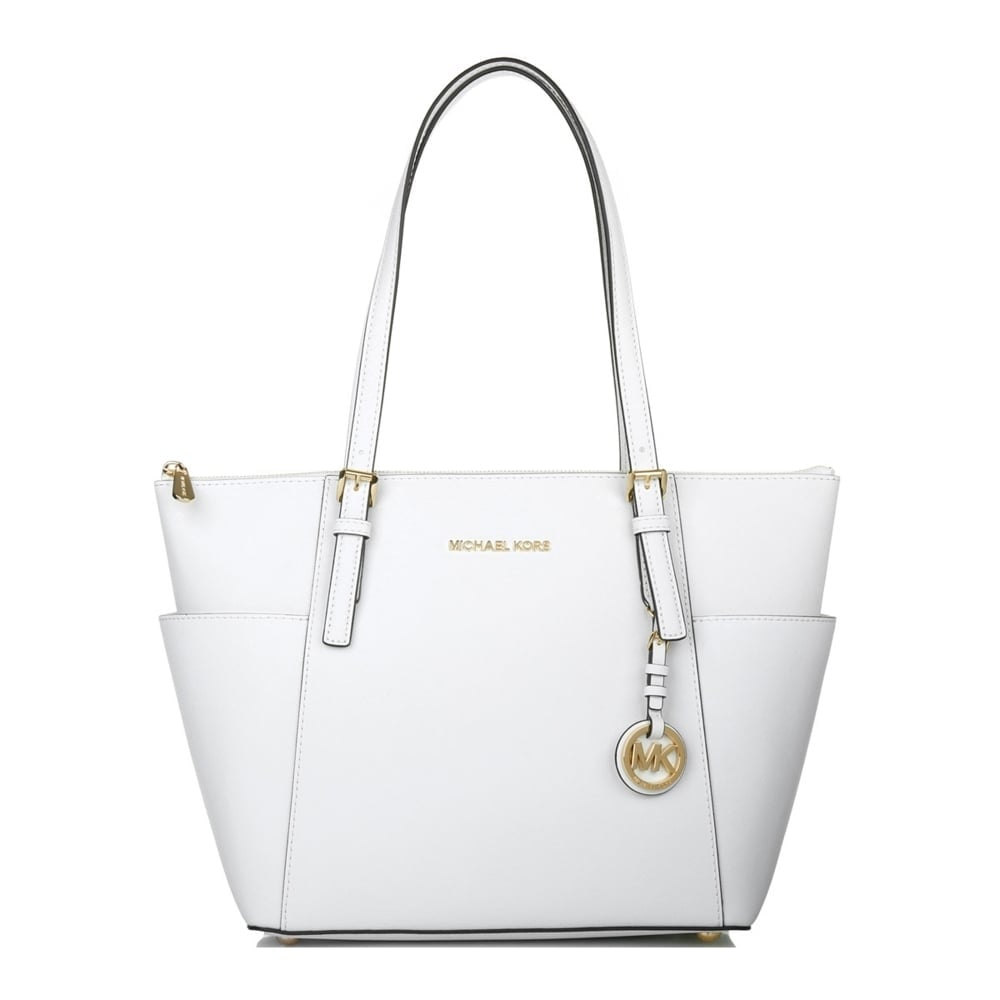 2d5d2cdd2ca8 MICHAEL by Michael Kors Jet Set Item Optic White Saffiano Top Zip Tote