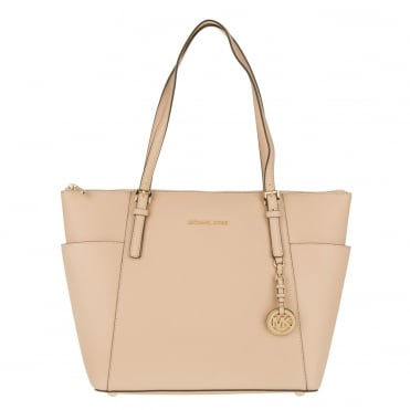 Jet Set Item Oyster Saffiano Top Zip Tote