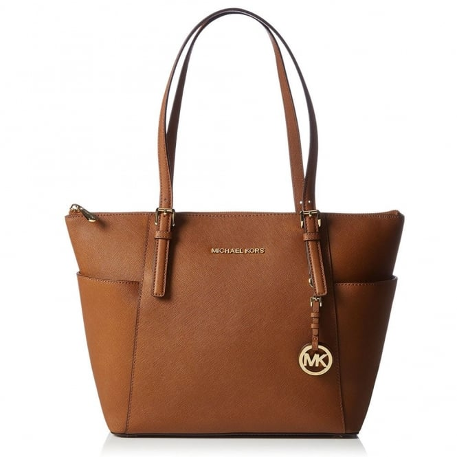 MICHAEL by Michael Kors Jet Set Item Tan Saffiano Top Zip Tote