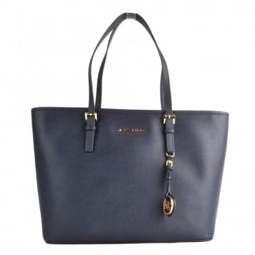 Jet Set Top Zip Admiral 'Navy' Leather Travel Tote
