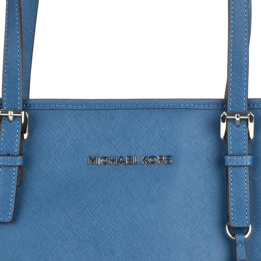 c6320d6996 MICHAEL by Michael Kors Jet Set Top Zip Steel Blue Leather Travel ...