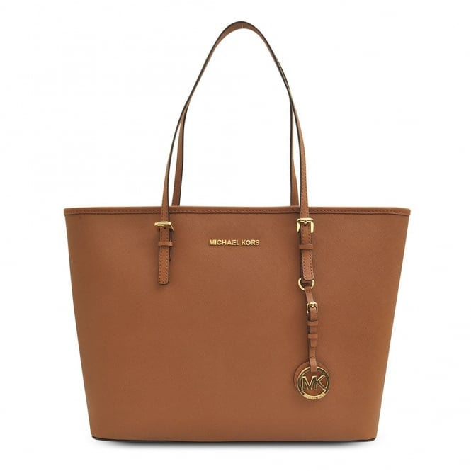 MICHAEL by Michael Kors Jet Set Top Zip Tan Leather Travel Tote