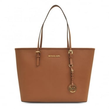 Jet Set Top Zip Tan Leather Travel Tote