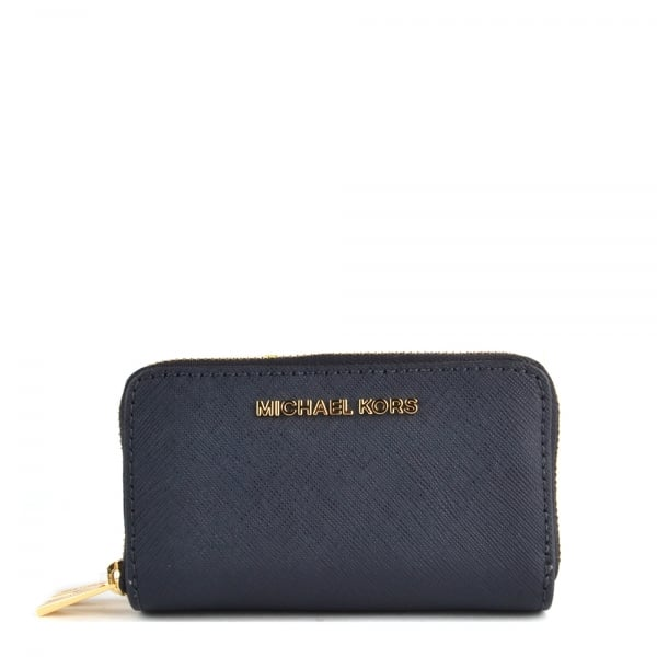 57083c43af90 MICHAEL by Michael Kors Jet Set Travel Admiral  Navy  Double Zip Around Card  Holder