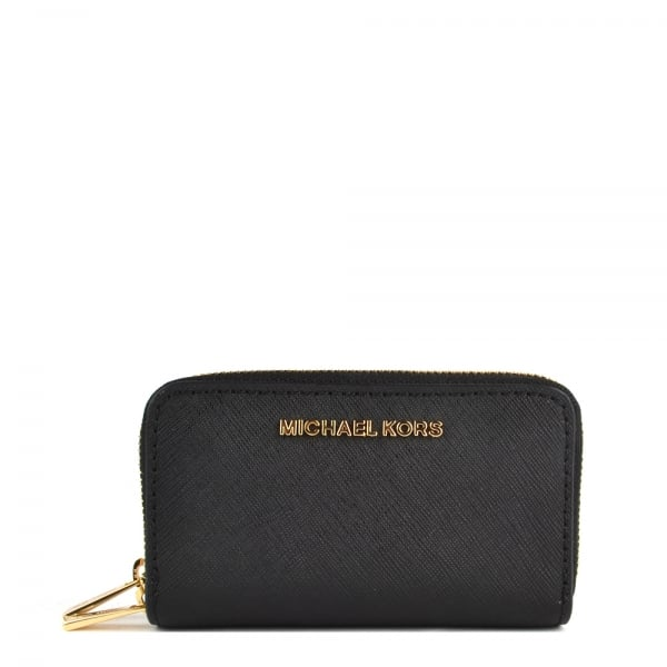 8593601368c5 MICHAEL by Michael Kors Jet Set Travel Black Double Zip Around Card Holder