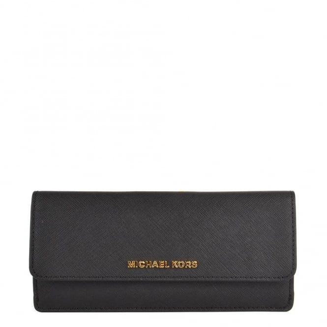 MICHAEL by Michael Kors Jet Set Travel Black Flat Wallet