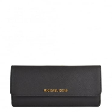 Jet Set Travel Black Flat Wallet