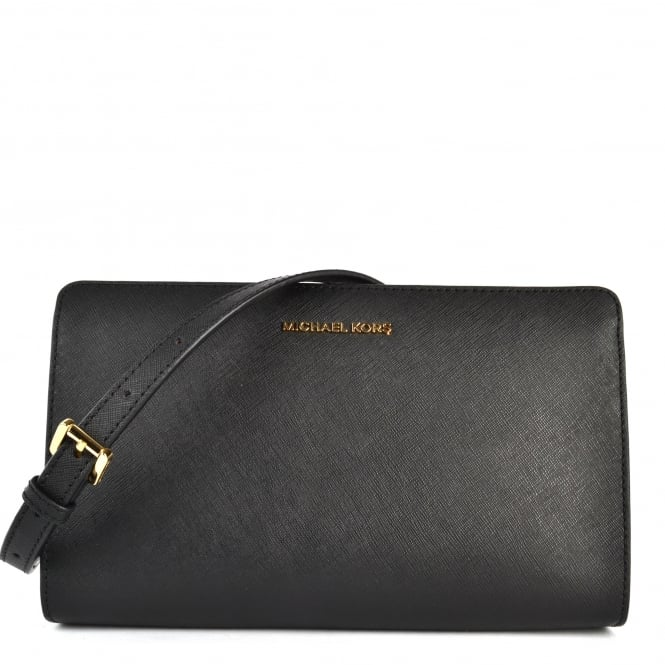 MICHAEL by Michael Kors Jet Set Travel Black Large Crossbody Clutch