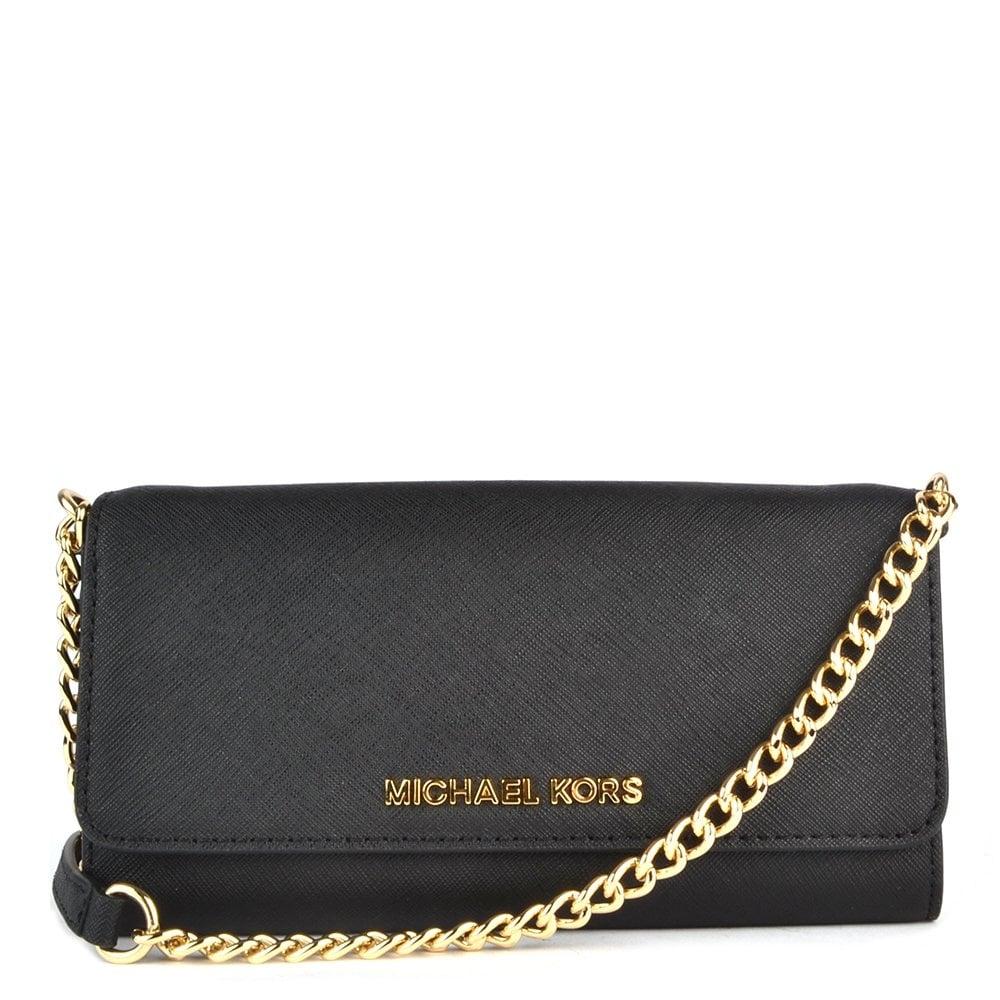 98ef89a79dc6 MICHAEL by Michael Kors Jet Set Travel Black Leather Chain Wallet ...