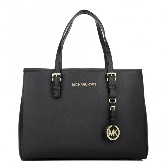 MICHAEL by Michael Kors Jet Set Travel Black Saffiano Leather Tote