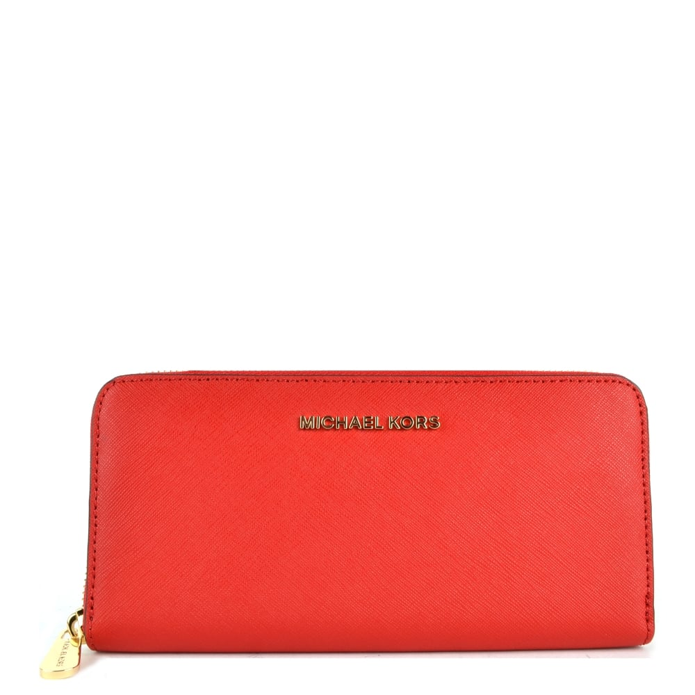3aa5637e61bb MICHAEL by Michael Kors Jet Set Travel Bright Red Zip Around Continental  Wallet