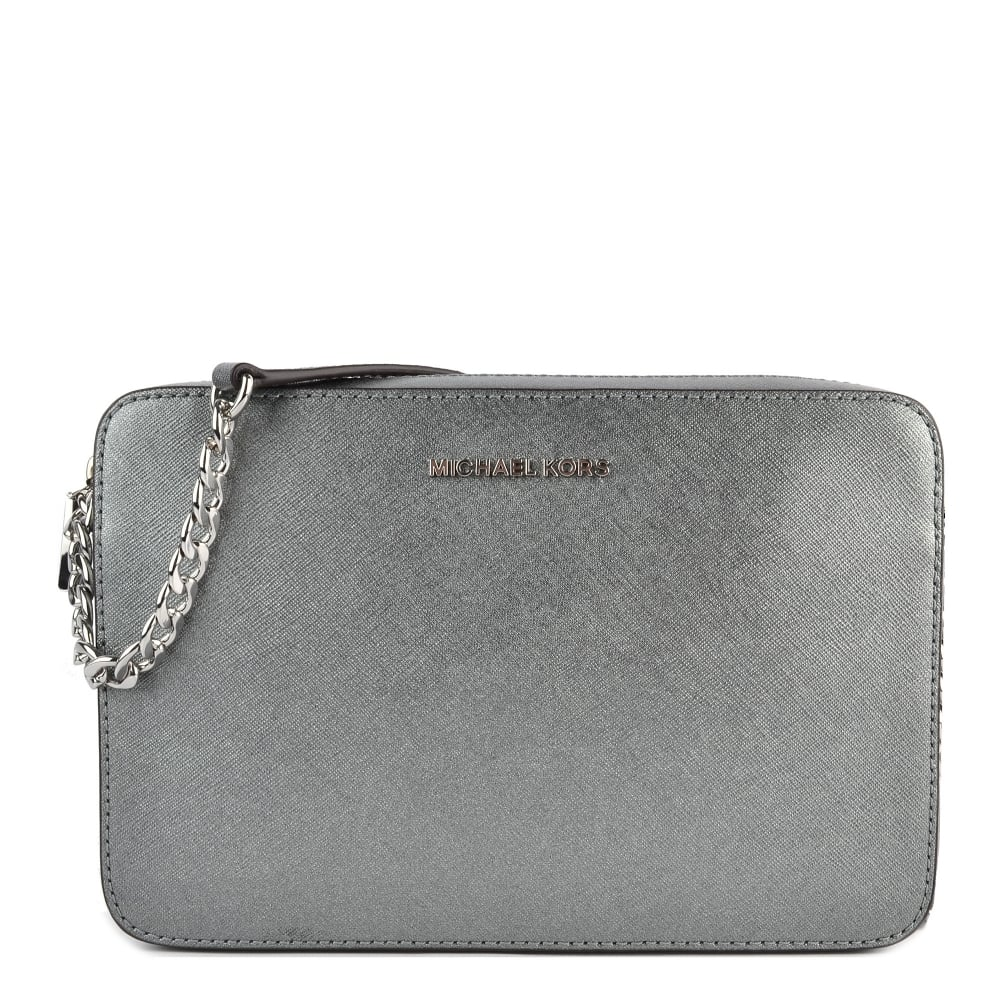 47d88889a947 MICHAEL by Michael Kors Jet Set Travel Light Pewter Leather Large Crossbody  Bag