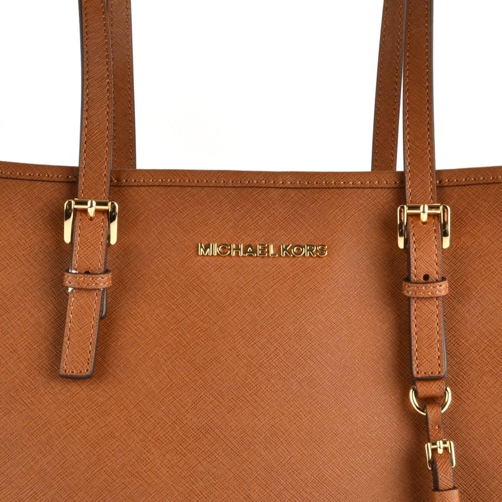 f6d138e7213f MICHAEL MICHAEL KORS Jet Set Travel Luggage 'Tan' Saffiano Leather Tote