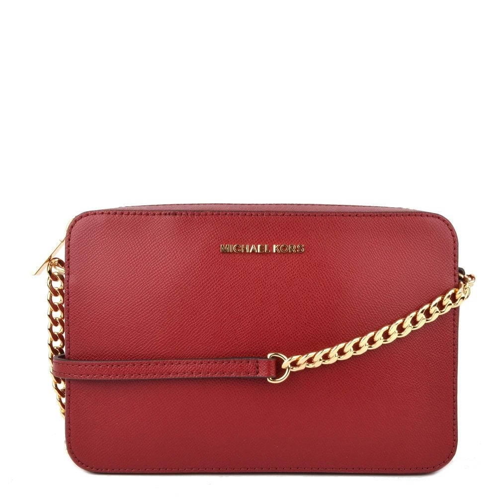 c790582b91bd MICHAEL by Michael Kors Jet Set Travel Maroon Saffiano Leather Large  Crossbody