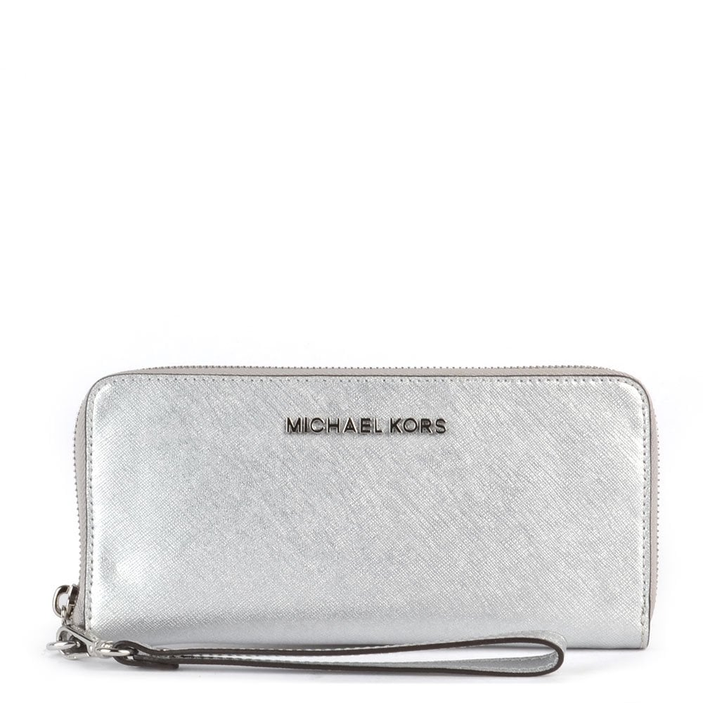 MICHAEL by Michael Kors Jet Set Travel Multifunction Silver Phone Wristlet    Purse ac60011c5