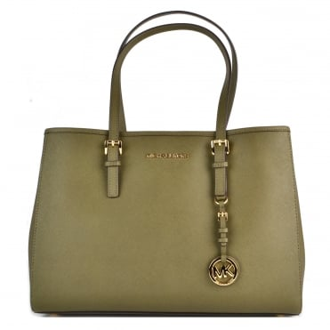 Jet Set Travel Olive Saffiano Leather Tote