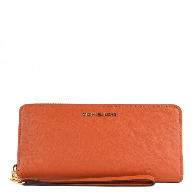 MICHAEL by Michael Kors Jet Set Travel Orange Continental Wallet