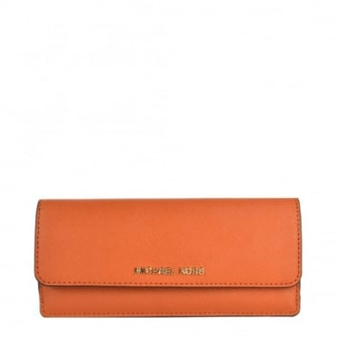 Jet Set Travel Orange Flat Wallet