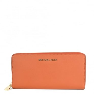 Jet Set Travel Orange Zip Around Wallet