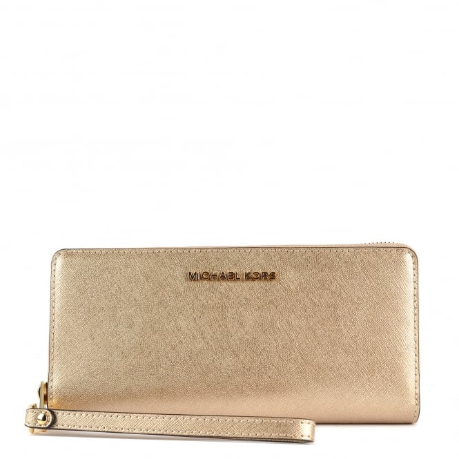 MICHAEL by Michael Kors Jet Set Travel Pale Gold Continental Wallet