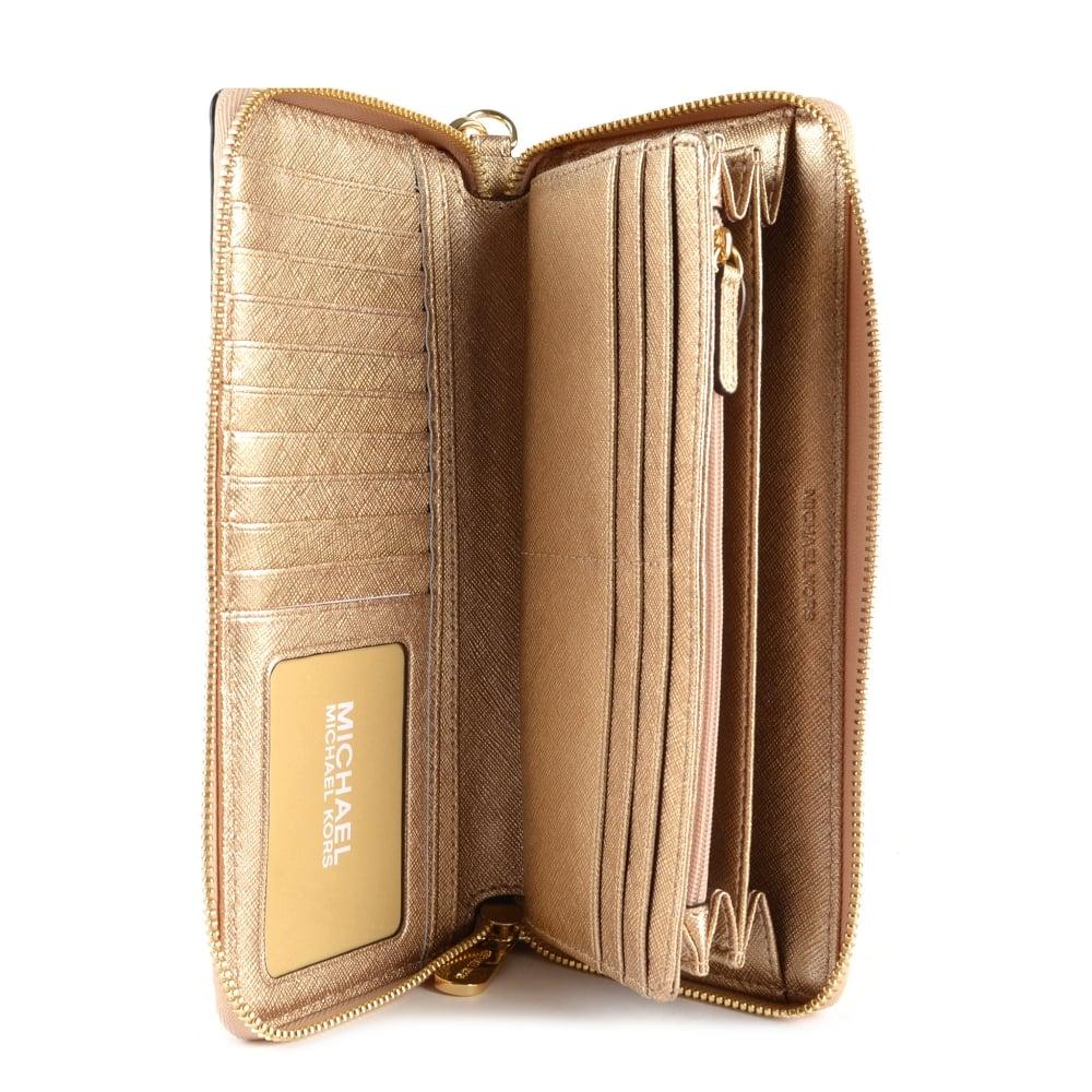 MICHAEL MICHAEL KORS Jet Set Travel Pale Gold Continental Wallet 1bbffbbb3