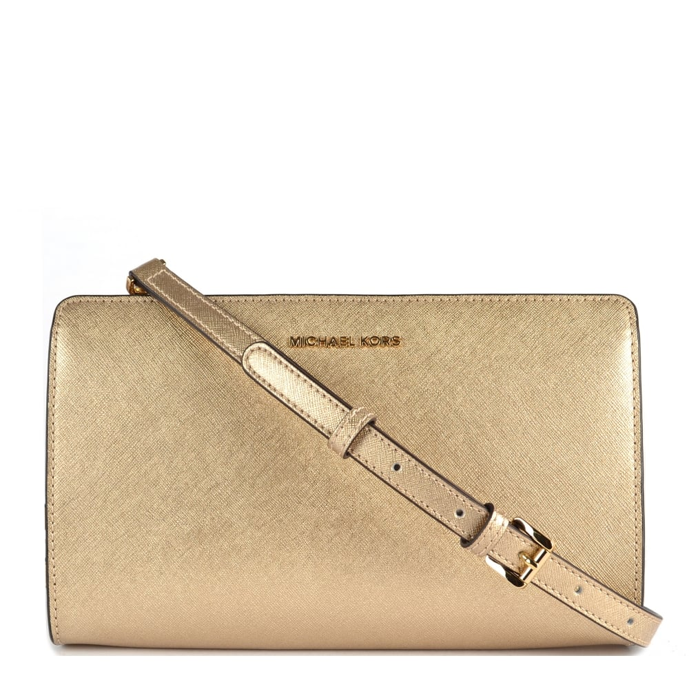 324e51c69c2a MICHAEL by Michael Kors Jet Set Travel Pale Gold Large Crossbody Clutch